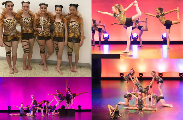 Collage of WAPS Acro students onstage at the concert and backstage at competitions